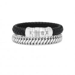 Buddha to Buddha Armband Custimized set zilver/leer zwart - 59781