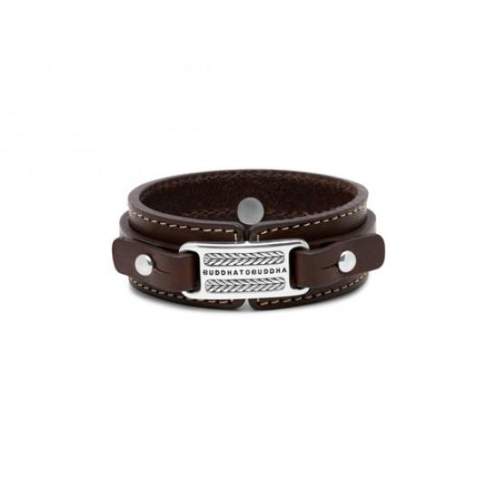 Buddha to Buddha Armband leer Jantan bruin 21cm - 59283