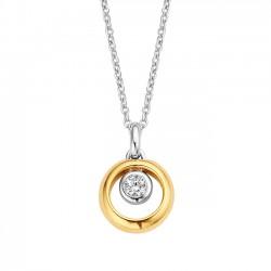 zilver collier moments 61274AY met zirkonia en goud verguld - 58931