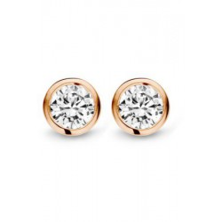 Moments oorknopje zilver/ rose verguld met zirkonia 5.5mm - 51096