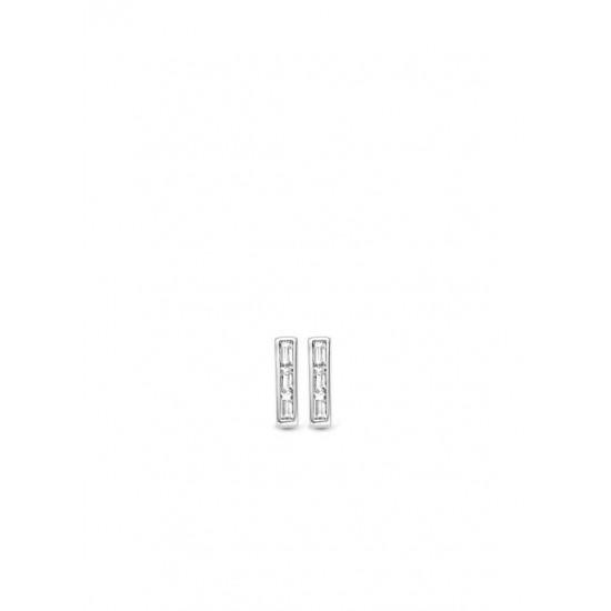 Moments zilveren steker oorbellen met zirkonia - 54834