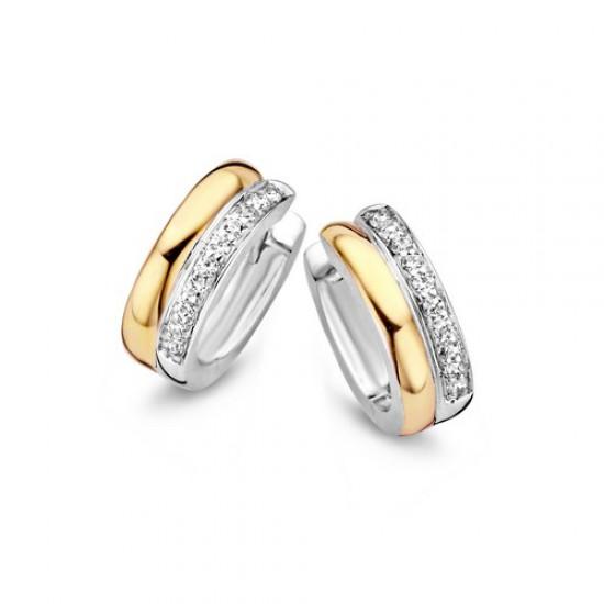 moments oorbellen, zilver en goud verguld met zirkonia gezet - 56359