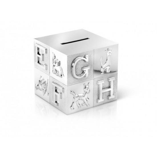 Verzilverde spaarpot kubus A6016260 /  7,5x7,5x7,5cm - 60607