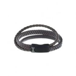 AZE Armband 21cm leer Iron three string brown - 60671