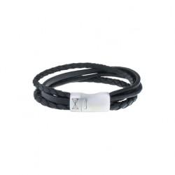 AZE Armband leer 21cm Iron four string black - 60727