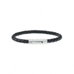 AZE Armband 21cm iron string black leer - 60738