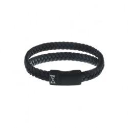 AZE Armband 19.5cm leer , double flat sting black on black - 60737