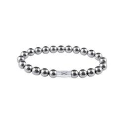 AZE Armband 17.5cm beads 8mm Silver mountain. - 60819