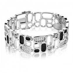 zinzi mart Visser collectie, zwart wit armband zirkonia, 19mm breed. - 52507