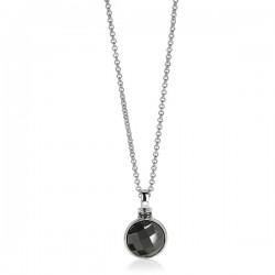 zilveren hanger met zwarte steen rond 40/45cm - 57782