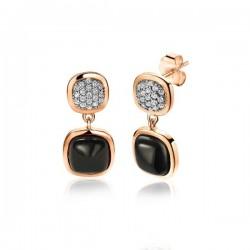 zinzi zilveren oorstekers rose zwart en zirconia - 57830