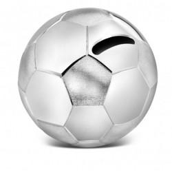 verzilverde spaarpot voetbal 8,5 X 8,5cm. - 53266