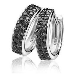 zilveren klapcreoelen pave met zwart steentje zinzi - 54100